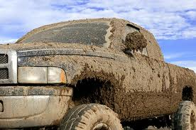 Mud covered truck
