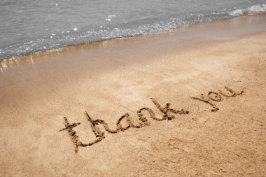 Thank You in beach sand