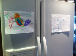 Kids drawing on fridge