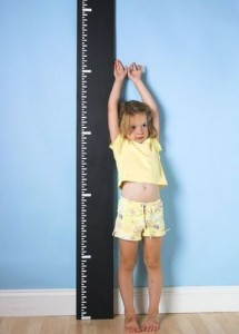 Girl and growth chart