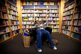 Asleep in bookstore